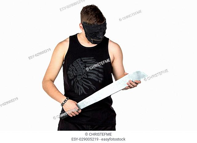 Image of young man in mask with hatchet on white background
