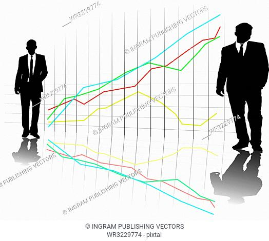 A group of business men in a line up on a grid with a chart in the background