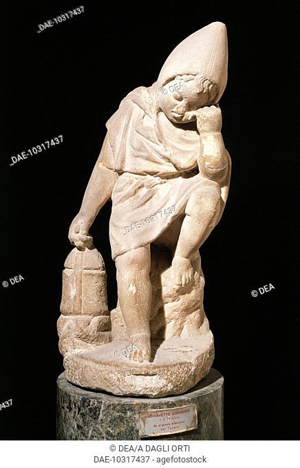 Roman civilization, 1st century b.C. Statue depicting a young slave sleeping