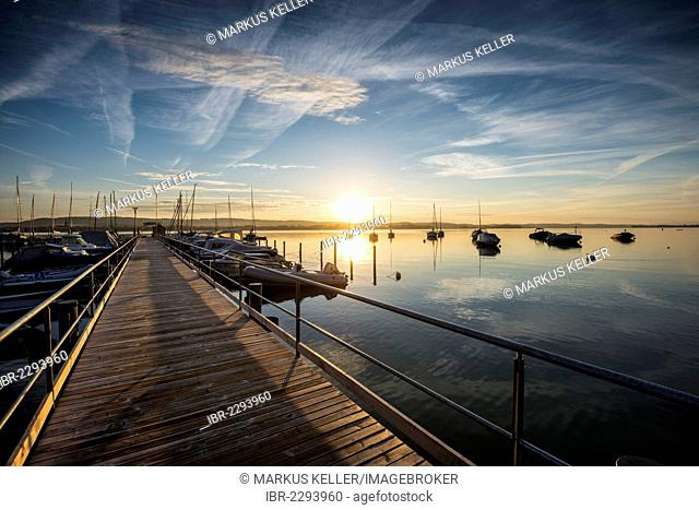 Morning mood with sunrise at the marina of Iznang, Baden-Wuerttemberg, Germany, Europe
