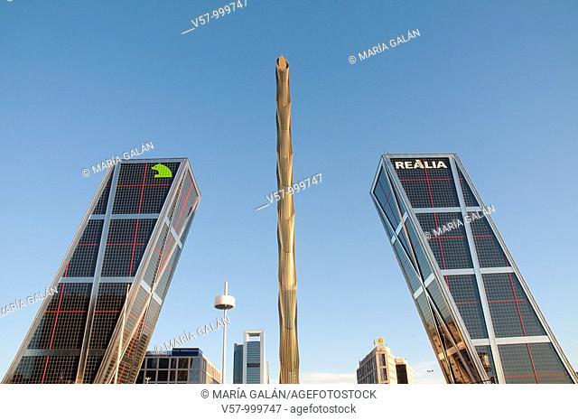 Obelisk and KIO Towers, Plaza de Castilla. Madrid, Spain