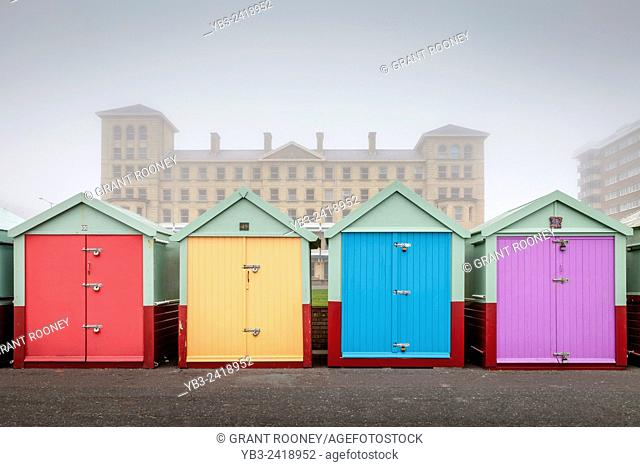 Colourful Beach Huts, Brighton, Sussex, UK