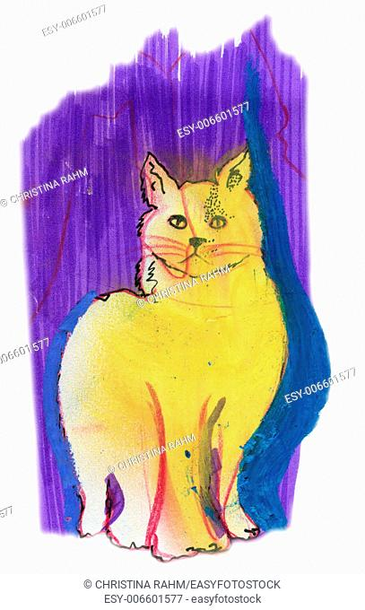 Yellow cat purple, original pastel sketch