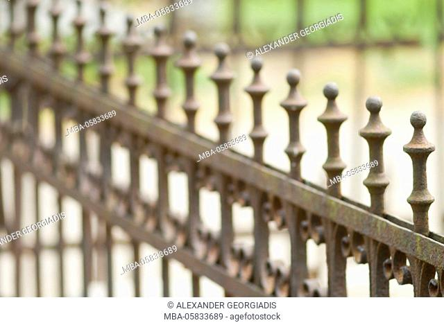Metal grid of a fence, detailed view