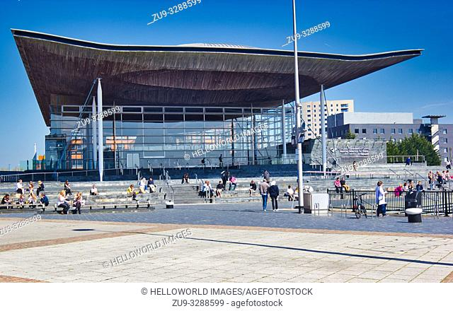 National Assembly for Wales (Senedd), Cardiff Bay, Cardiff, Wales, United Kingdom. Completed in 2006 and designed by Richard Rogers