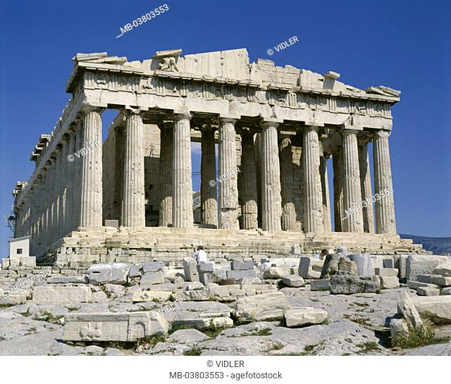 Greece, Athens, view at the city, Acropolis, Parthenon,  Europe, Attika, capital, sight, landmarks, temple mountain, temples, construction, Peripteros