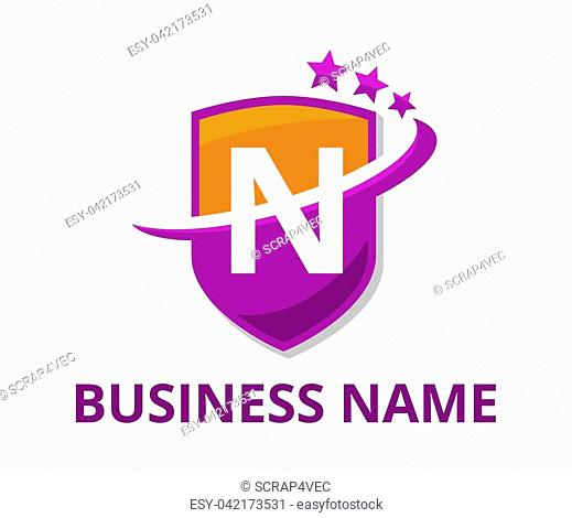orange and purple color shield get slice into half logo graphic design with modern clean style for protection or security company with initial type letter n on...