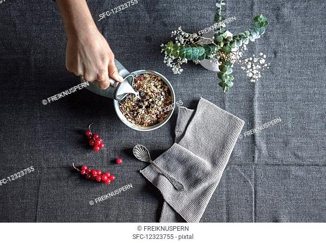 Pour milk into muesli