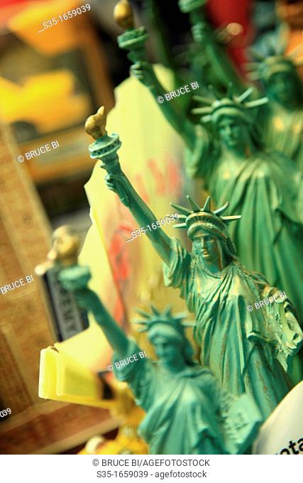 Statue of Liberty for sale as a souvenir in a gift shop  Manhattan  New York City  USA