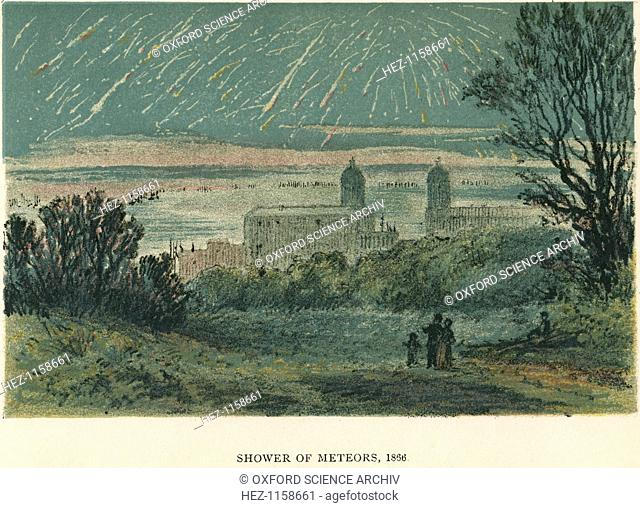 Shower of meteors (Leonids) observed over Greenwich, London, 1866 (1884). The Leonids, named because they emanate from the area of the constellation Leo