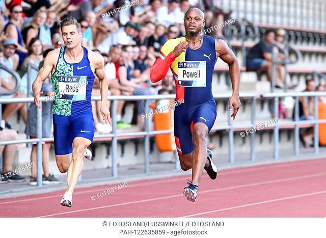 Leverkusen, Germany July 24, 2019: Athletics - Bayer Classics - 2019 v.li. Julian Reus (LAC Erfurt), Asafa Powel (JAM) | usage worldwide