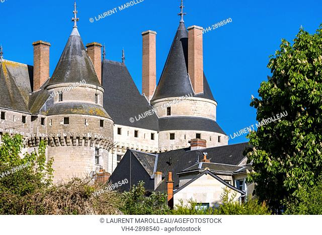 The Huge Towers with a pointed Roof of the Castle of Langeais, Indre-et-Loire, Centre region, Loire valley, France, Europe