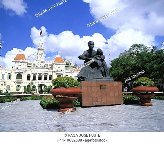 10632088, building, construction, Ho Chi Minh city, Ho Chi Minh statue, colonial style, city hall, Saigon, Vietnam, Asia