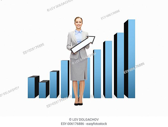 business and education concept - smiling businesswoman with direction arrow sign and growing chart on the back