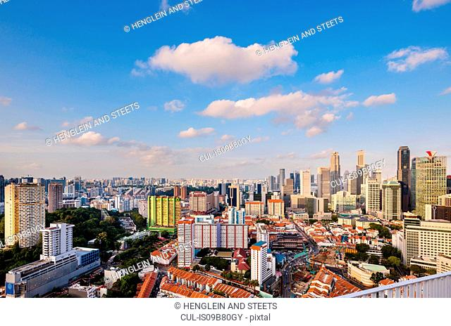Elevated cityscape of financial district and chinatown, Singapore, South East Asia