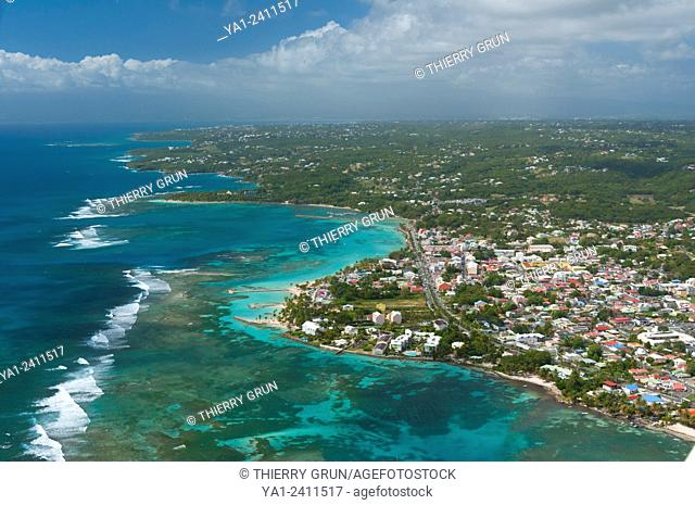 France. Guadeloupe, Saint Anne town aerial view