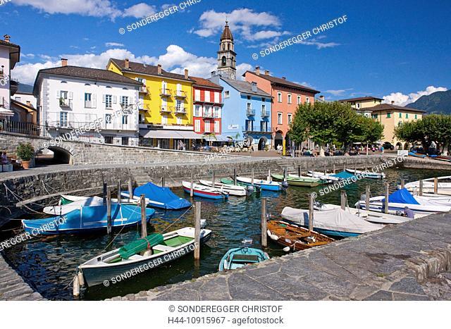 Town, City, village, canton, Ticino, Switzerland, Europe, Tessin, southern Switzerland, Ascona, Lago Maggiore, boats