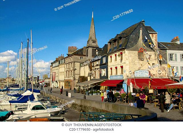 Naval Museum in the ancient Saint Etienne church, on the quay along the Vieux Bassin, with its boats,Honfleur, Calvados, Normandy, France