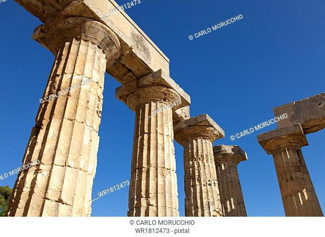 Temple of Hera at Selinunte, the ancient Greek city on the southern coast of Sicily, Italy, Europe