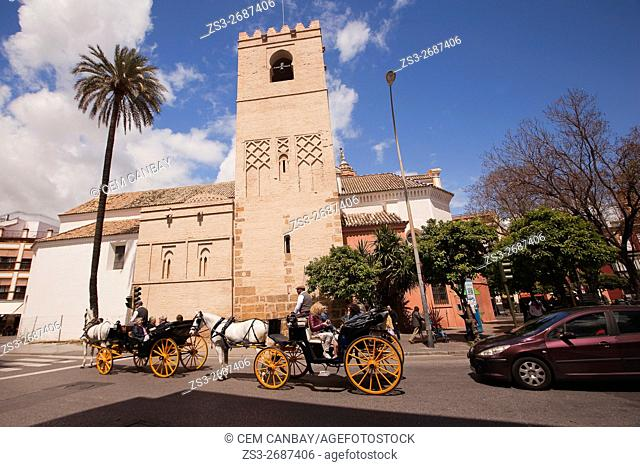 Horse-Carriages in front of the Parroquia De San Pedro, Seville, Andalusia, Spain, Europe