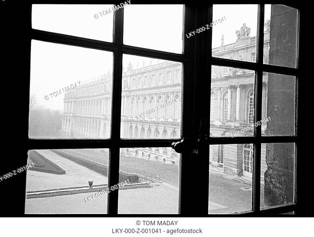 View out of window at Versailles, outside of Paris, France'