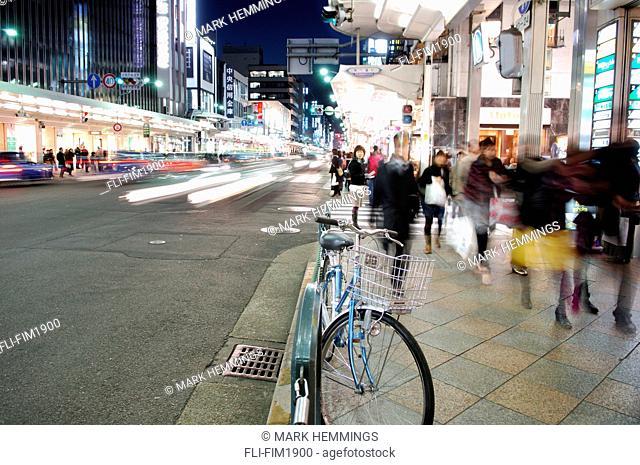 City's Sanjo Shopping District, Kyoto, Japan