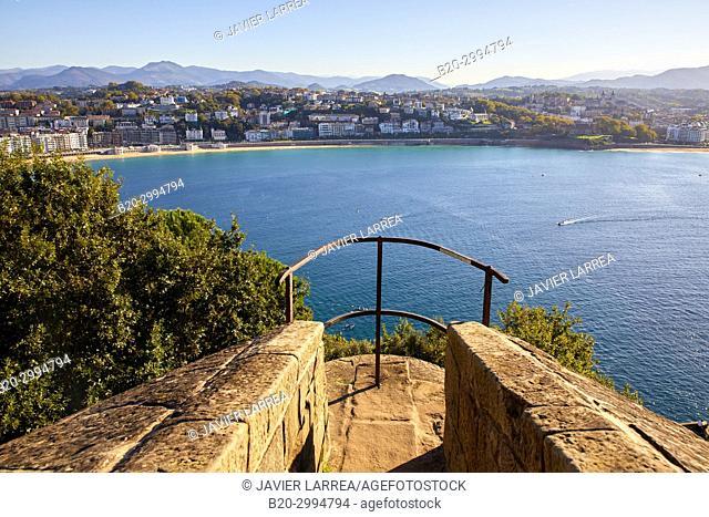La Concha Bay, Urgull Mountain, Donostia, San Sebastian, Gipuzkoa, Basque Country, Spain, Europe
