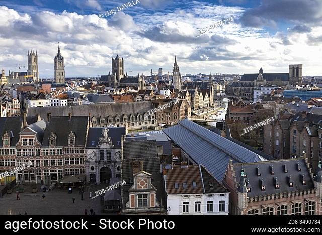 Panoramic fron the Castle. Ghent. Belgium
