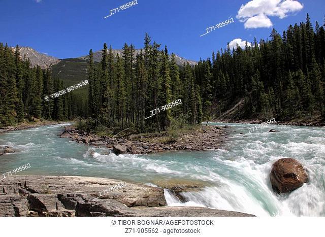 Canada, Alberta, Jasper National Park, Sunwapta River Falls