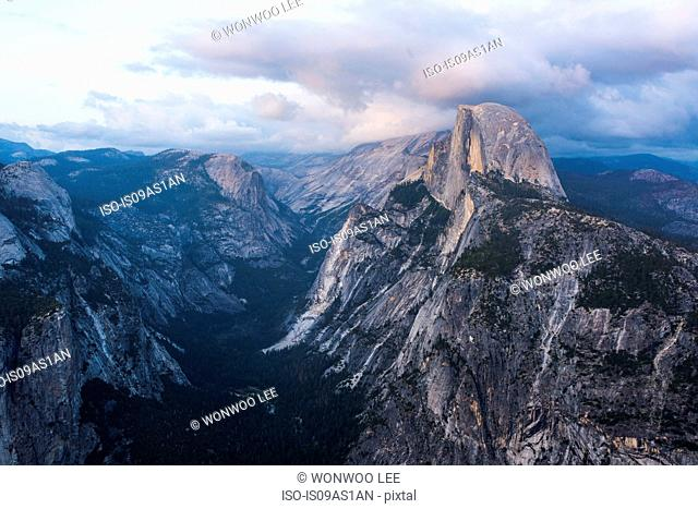 Elevated view of mountains, Yosemite National Park, California, USA