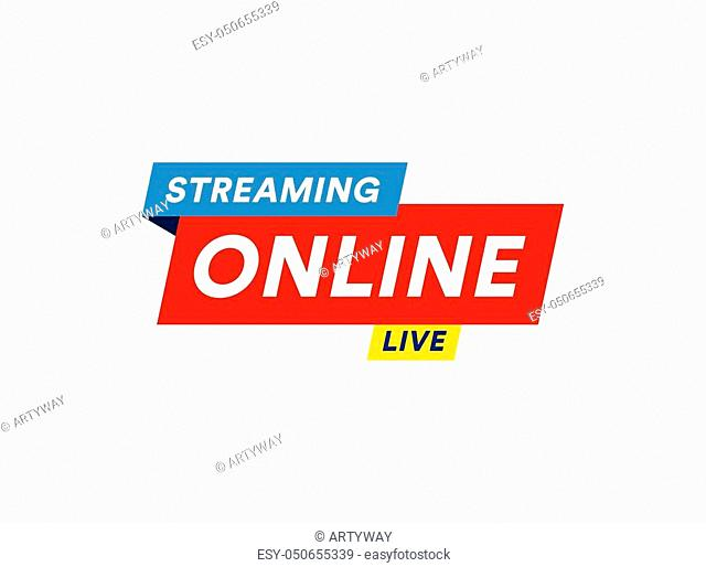 Online Streaming logo, live video stream icon, digital online internet TV banner design, broadcast button, play media content button