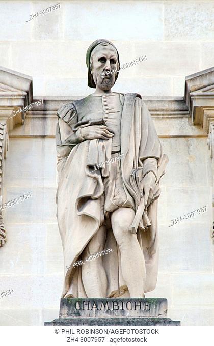 Paris, France. Palais du Louvre. Statue in the Cour Napoleon: Pierre Chambiche / Chambige(? - d1544) French architect (statue,1857 by Jules-Antoine Droz)