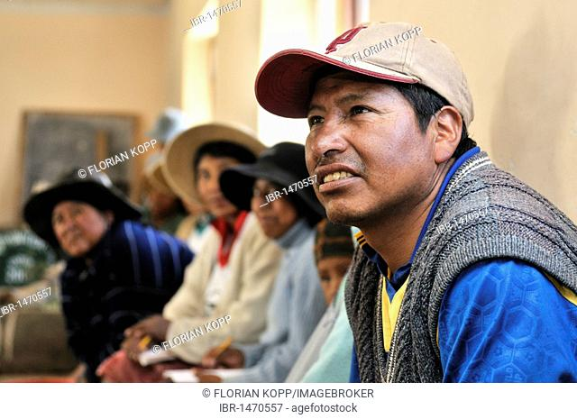 Villager participating in a course, Bolivian Altiplano highlands, Departamento Oruro, Bolivia, South America