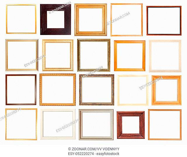 set of square wooden picture frames with cut out canvas isolated on white background