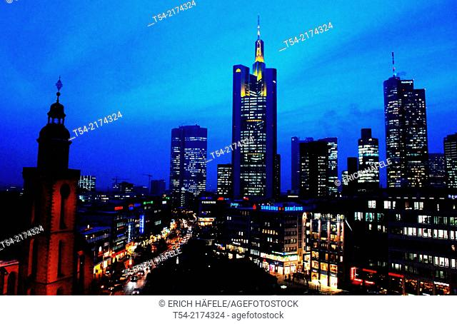 Skyline of Frankfurt am Main at dusk