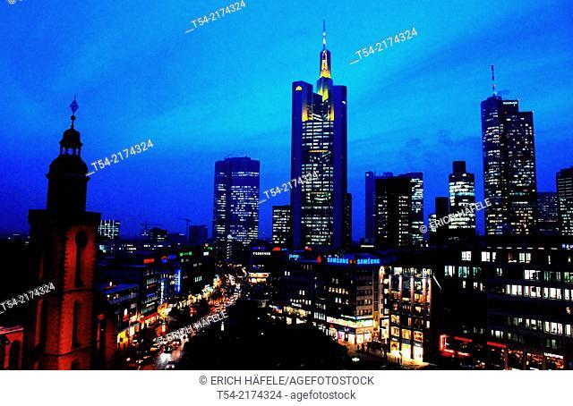 Skyline of Frankfurt am Main at dusk