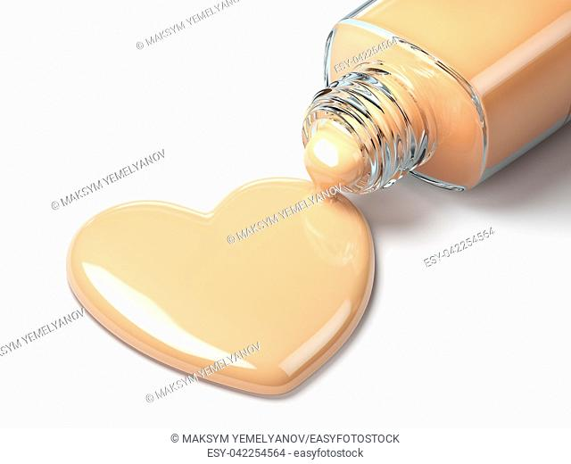 Liquid makeup foundation cream in form of the heart symbol and glass bottle. 3d illustration