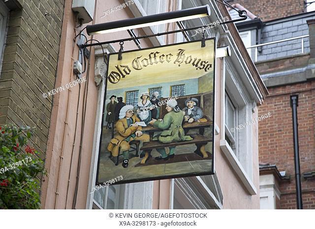 Old Coffee House Pub Sign; Beak Street; London; England; UK
