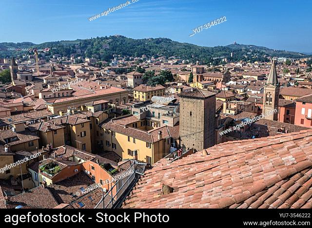 Bologna, capital and largest city of the Emilia Romagna region in Italy - view from Basilica of San Petronio with Torre Galluzzi