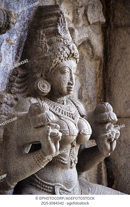 Carved idol in Gangaikondacholapuram Temple. Thanjavur, Tamil Nadu, India. Shiva Temple has the biggest Lingam in South India
