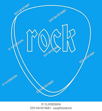 Rock stone icon blue outline style isolated illustration. Thin line sign