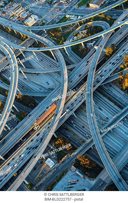 Aerial view of highway interchange in cityscape
