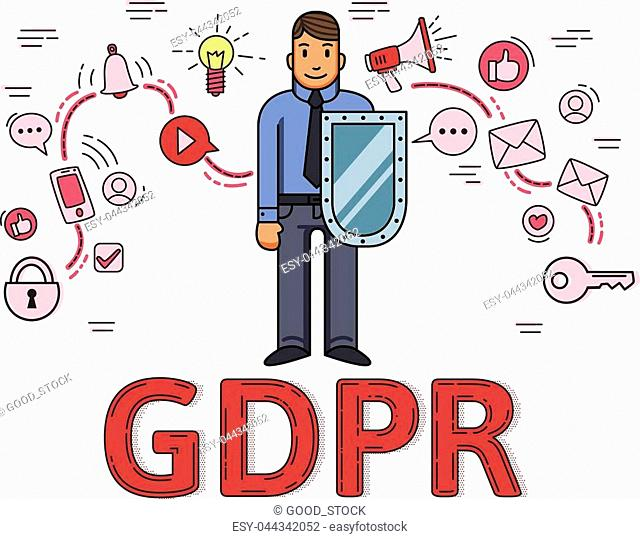 Businessman with a shield among internet and social media symbols. General data protection regulation. GDPR, RGPD, DSGVO, DPO