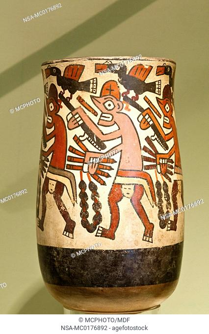Peru, Lima. Anthropomorphic receptacle or vase artifact at the National Museum of Archeology, Anthropology and History of Peru