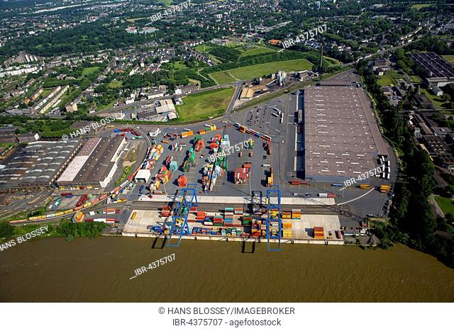 Aerial view, the Port of Duisburg, Logport Container Terminal, Duisburg, Ruhr district, North Rhine-Westphalia, Germany