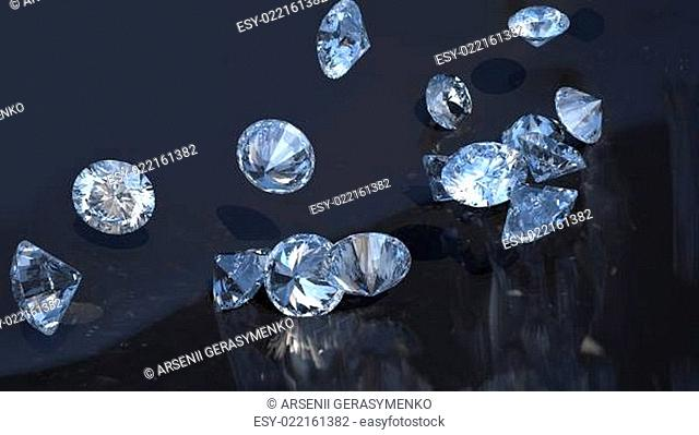 Large group of diamonds rolling over
