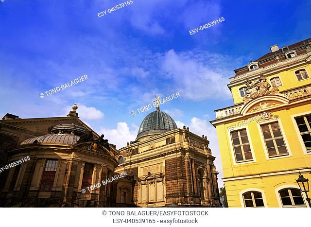 Dresden street facades in Saxony of Germany