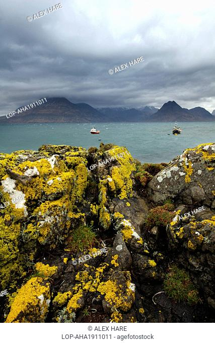 Scotland, Isle of Skye, Elgol. A view across Loch Scavaig towards the Cuillin Ridge from Elgol on the Isle of Skye