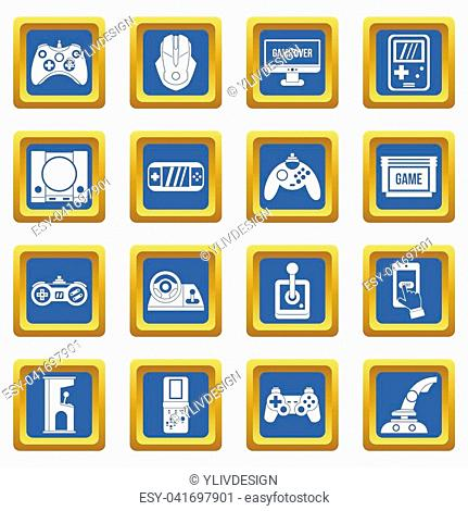 Video game icons set in blue color isolated illustration for web and any design