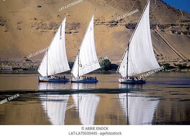 Felucca boats on River Nile. Reflections. Sand dunes. Tombs